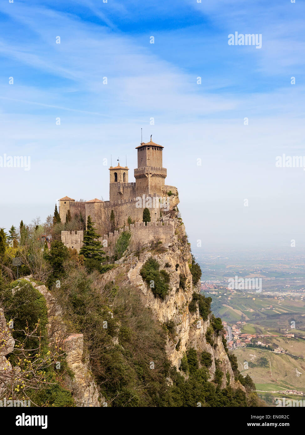 Rocca Della Guaita, ancient fortress of San Marino - Stock Image
