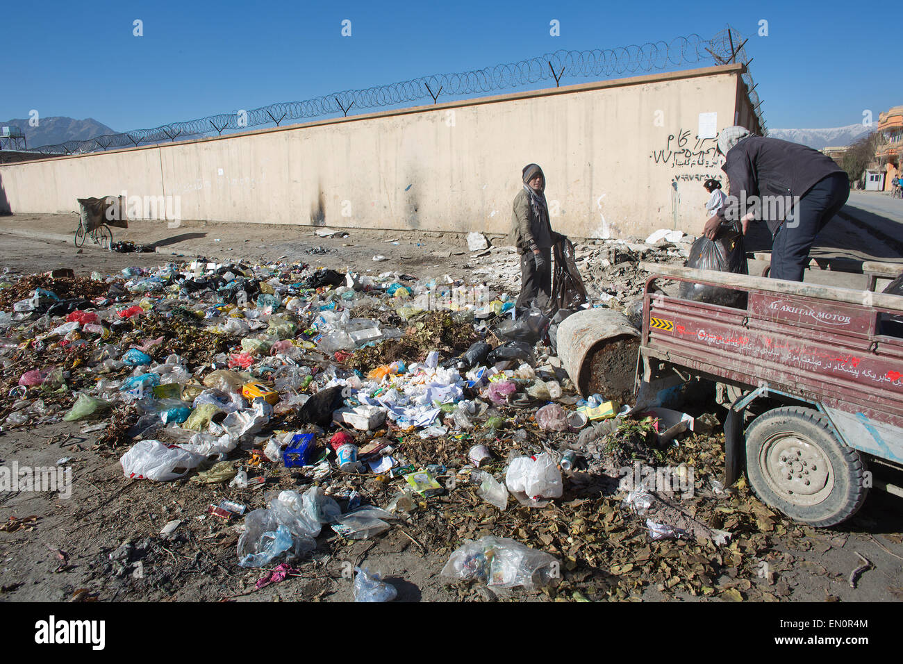 garbage in Kabul - Stock Image