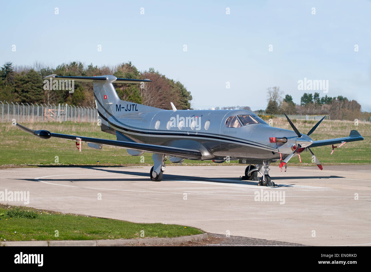 The Pilatus PC-12 is a single-engine turboprop passenger and cargo aircraft.  SCO 9695. - Stock Image