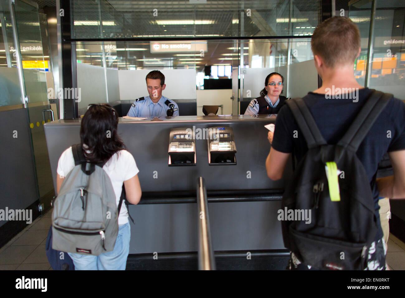 passport control at schiphol airport - Stock Image