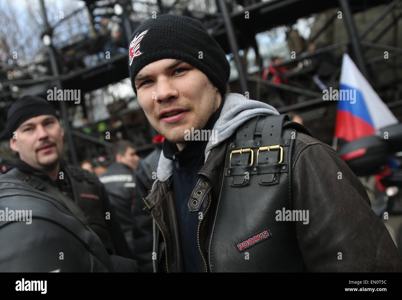 Moscow, Russia. 25th Apr, 2015. Russian boxer Dmitry Chudinov seen ahead of the Moscow-Berlin motocross dedicated Stock Photo