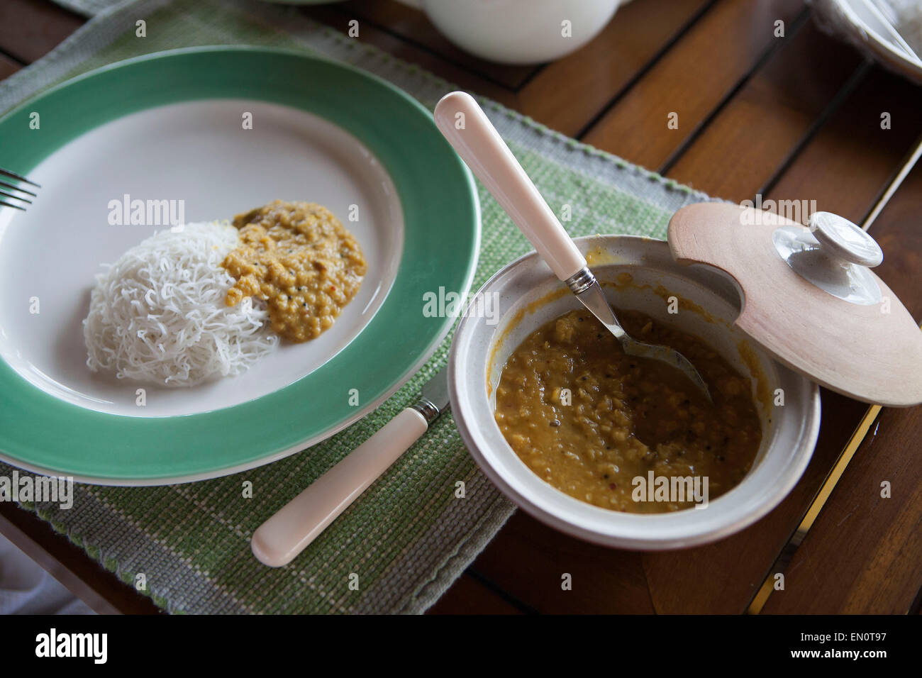 Cape Weligama,Sri Lanka: Srilankan breakfast with stringhoppers and black dahl Stock Photo
