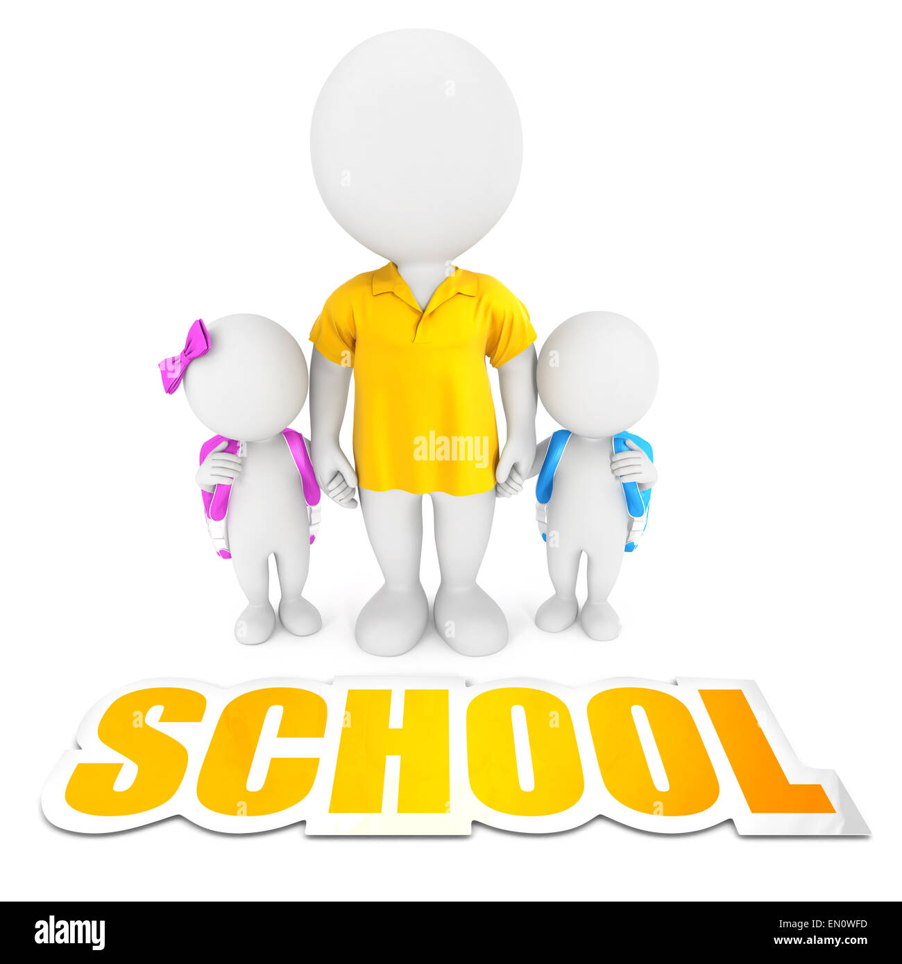 3d white people bringing children to school, isolated white background, 3d image Stock Photo