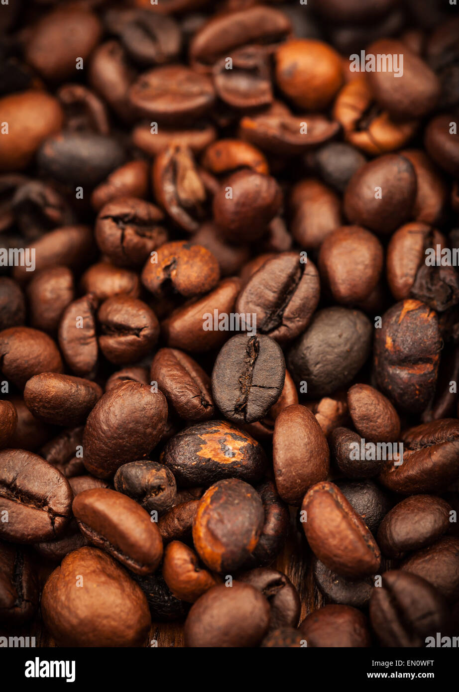 Roasted coffee beans as background - Stock Image