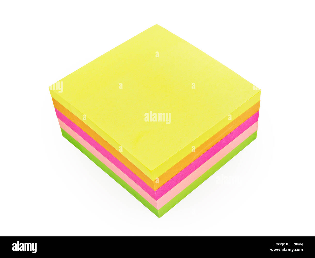 colorful post-it notes isolated on white background - Stock Image