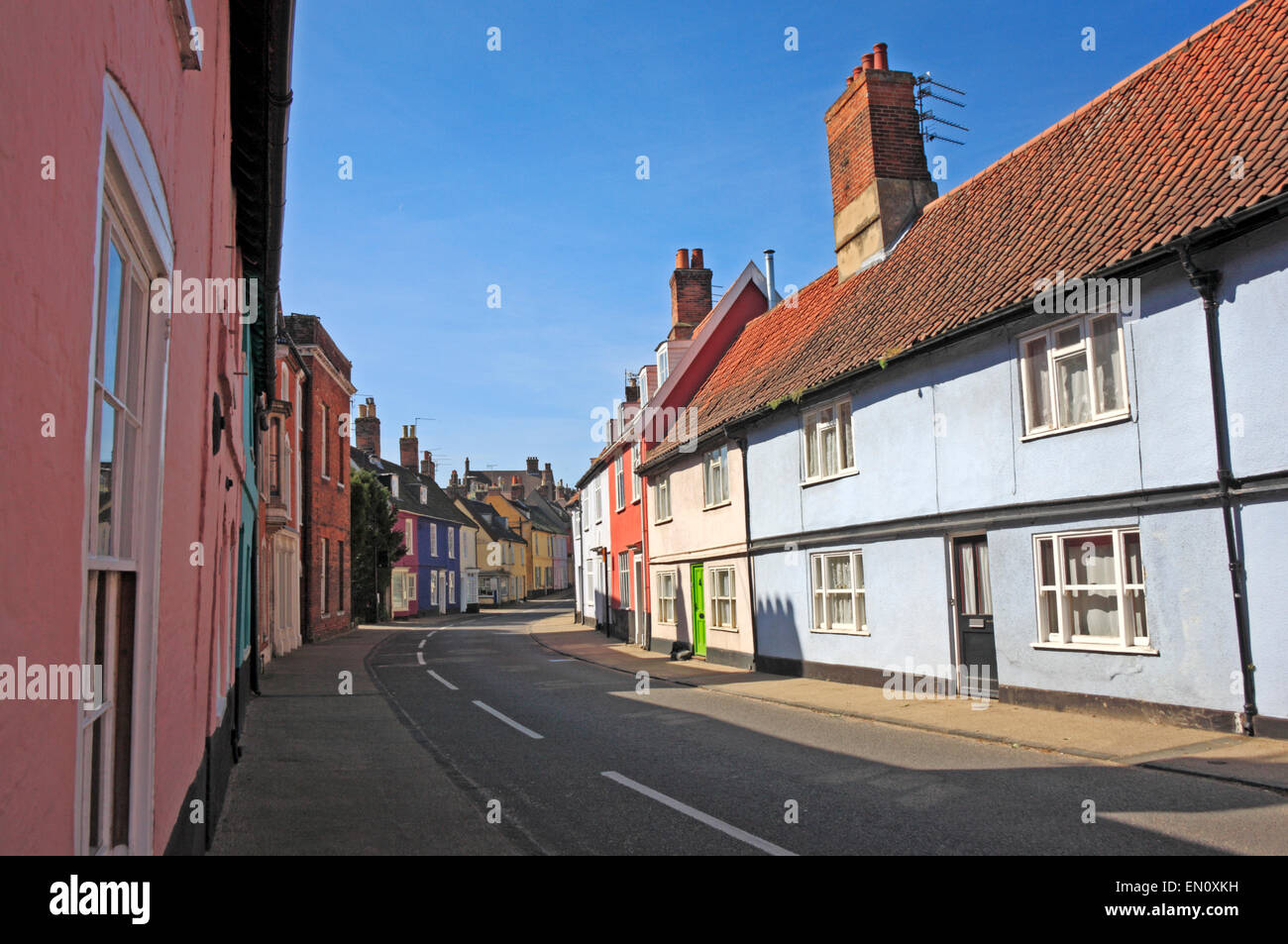 A view of old buildings in Bridge Street in the town of Bungay, Suffolk, England, United Kingdom. - Stock Image