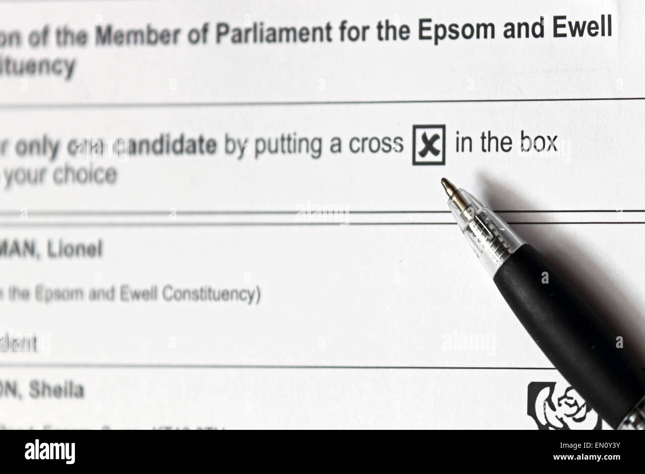 Epsom Surrey England UK. 25th April 2015. Postal ballot papers arrive for the Parliamentary election in the borough - Stock Image