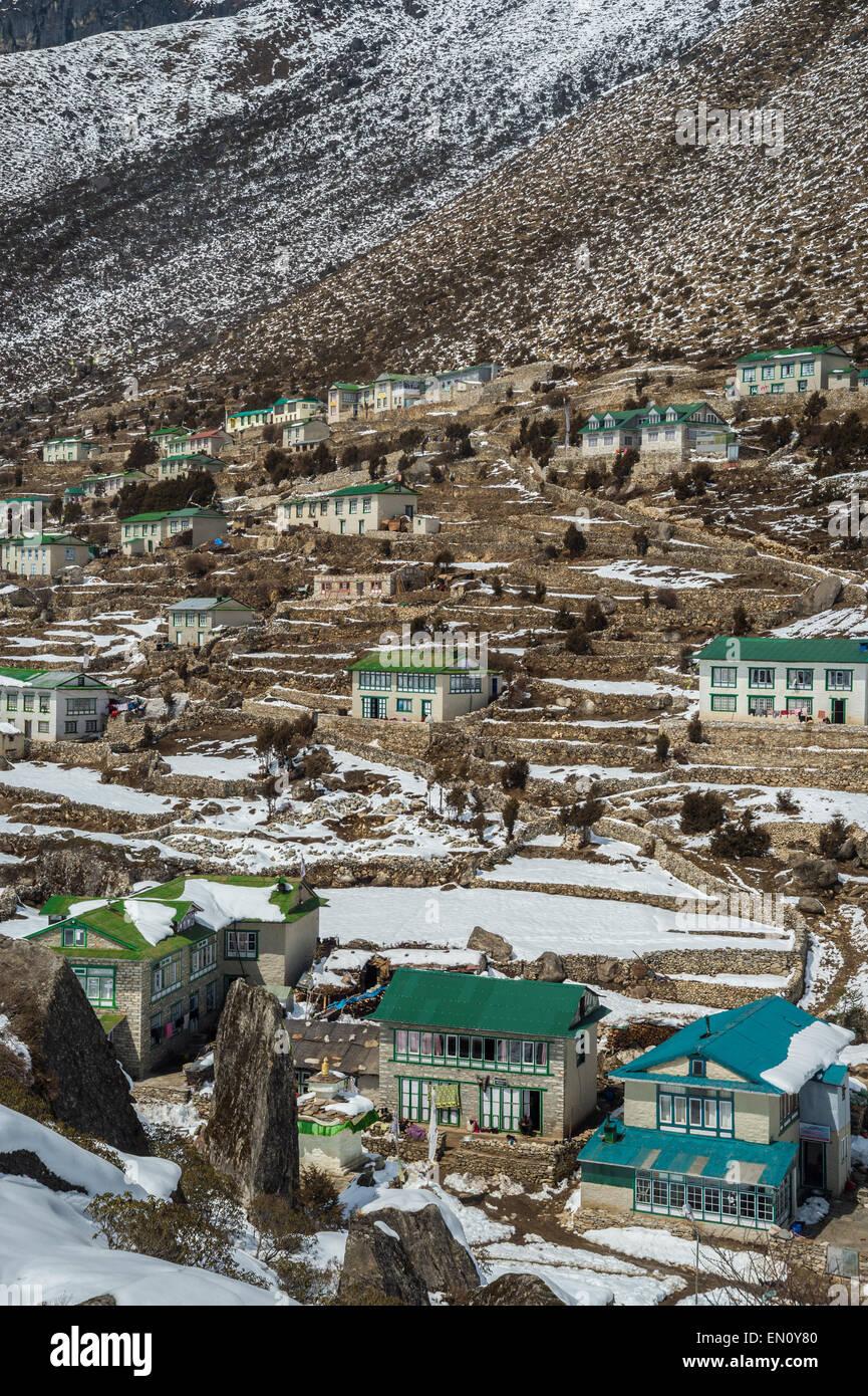 Khumjung village in Nepal - Stock Image