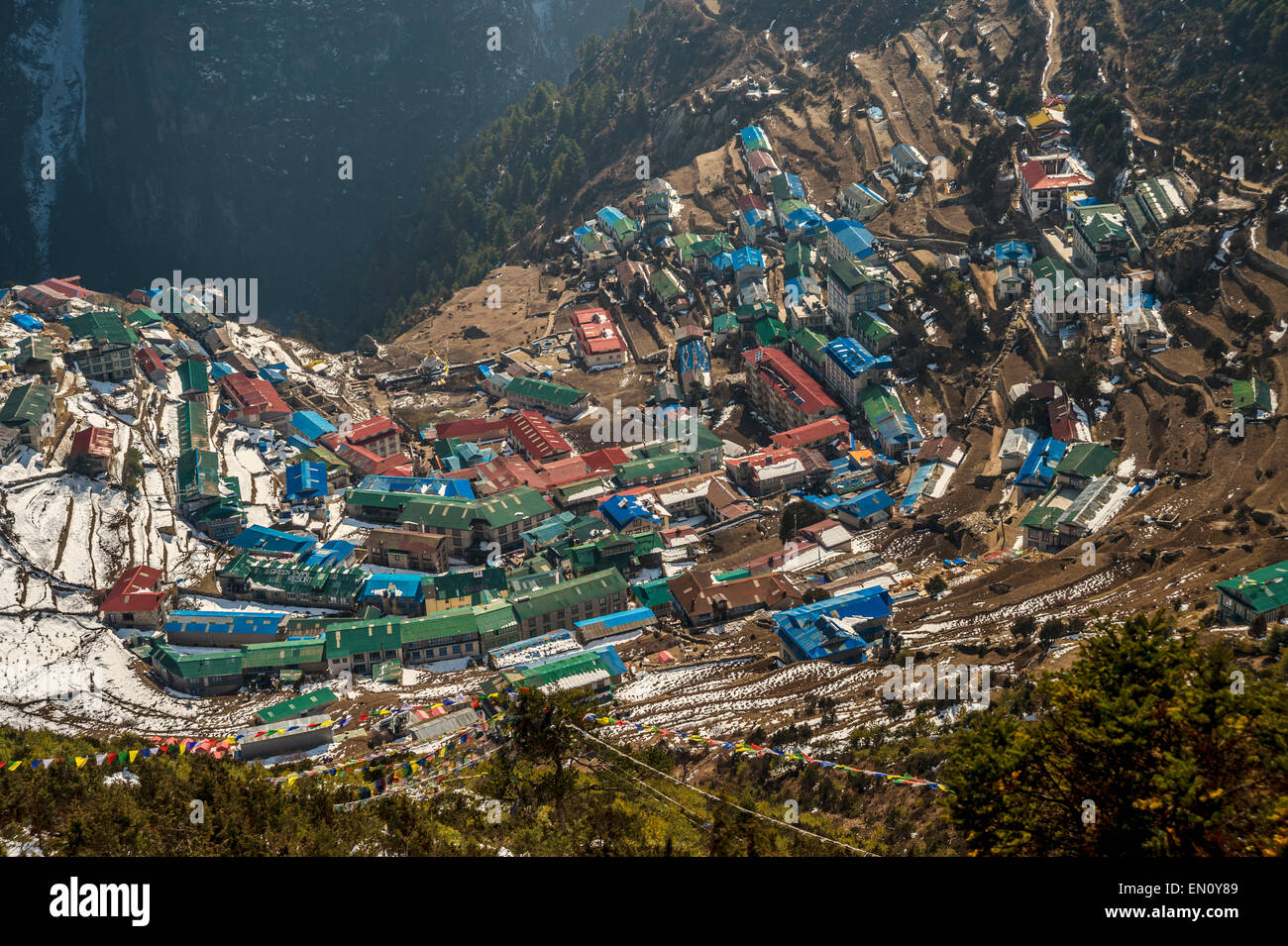 Namche Bazaar, Nepal - 9 March 2015: Aerial view of Namche Bazaar in the Everest Region of Nepal - Stock Image