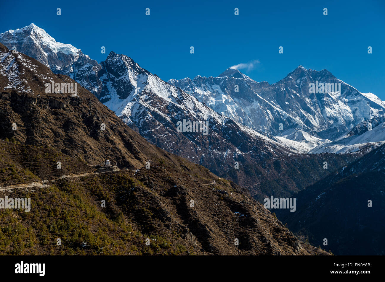 View of Everest, Lhotse and Nuptse peaks in the Everest Region - Stock Image