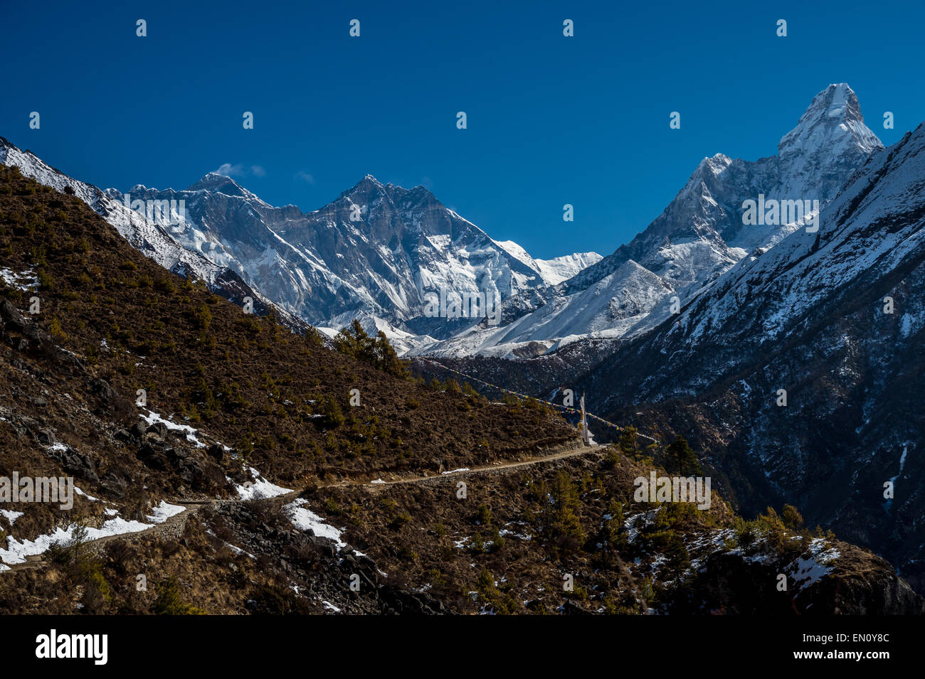 View of Everest, Lhotse, Nuptse, Ama Dablam peaks in the Everest Region - Stock Image