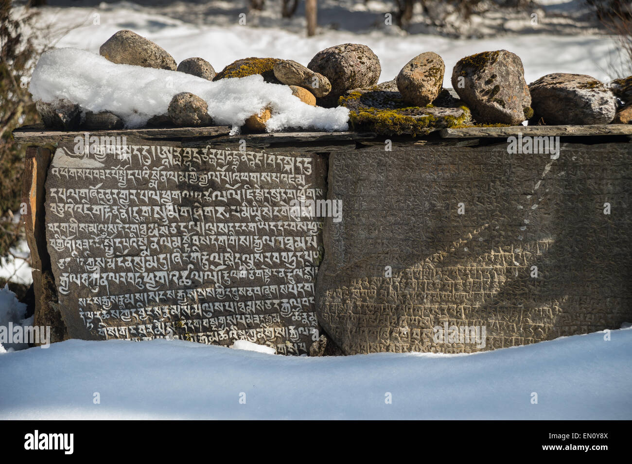 Two large mani stones in the everest region, Nepal - Stock Image