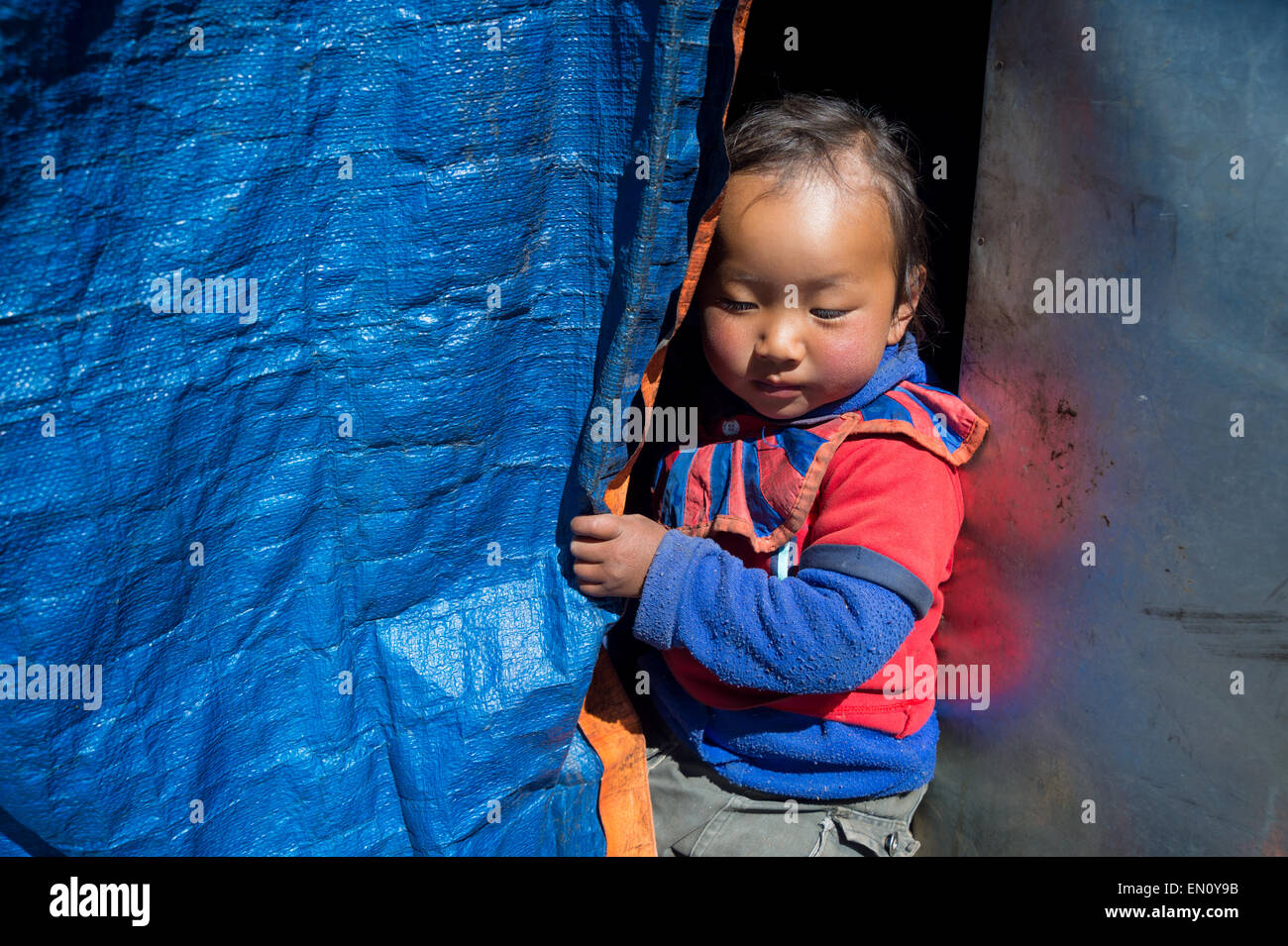 Portrait of a nepalese young girl - Stock Image