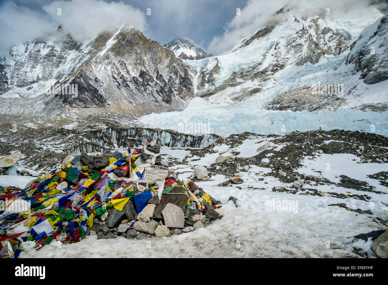 Everest Base Camp in March 2015 - Stock Image