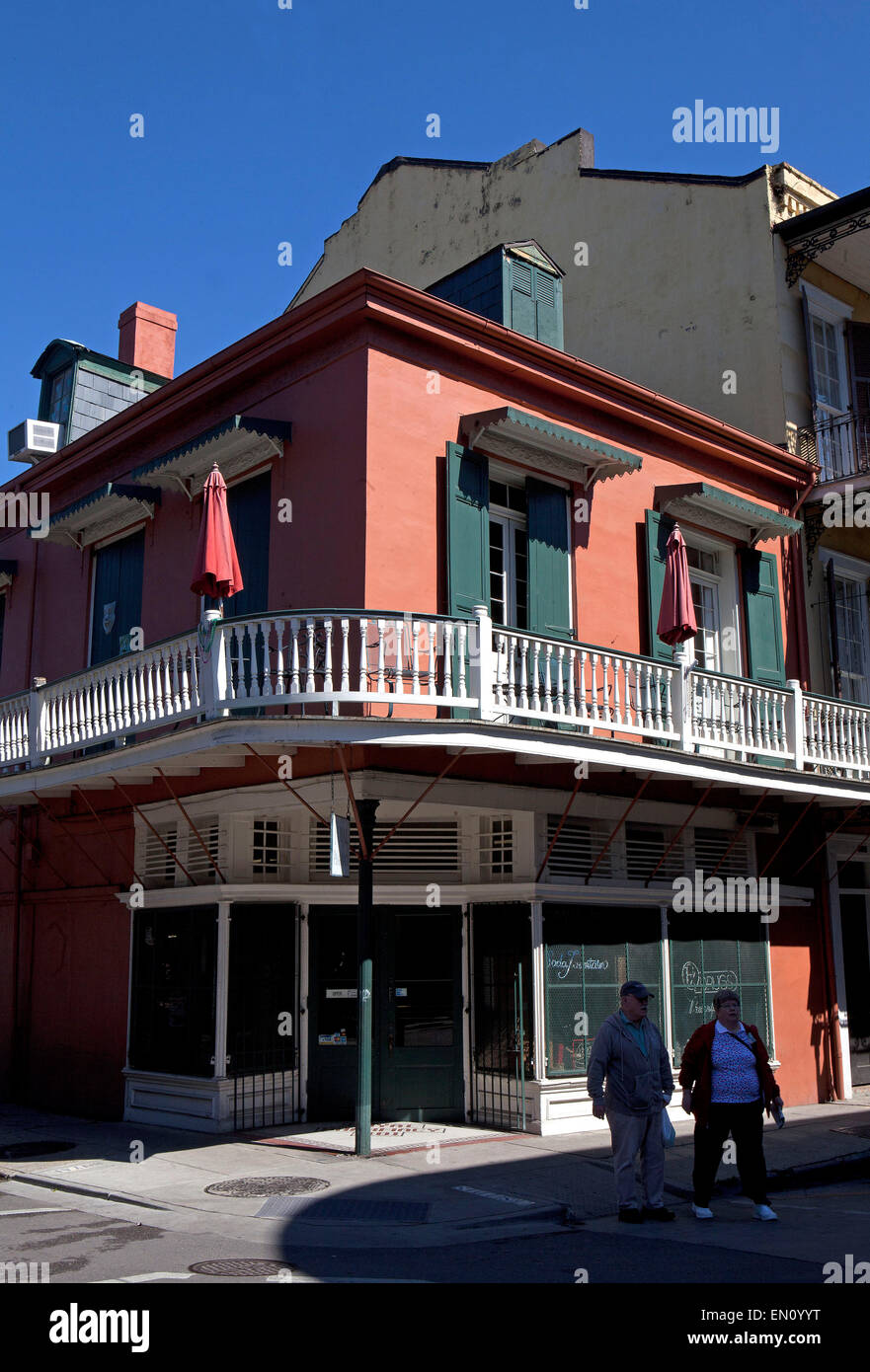 New Orleans,Louisiana: French colonial architecture on Bourboun Street, French Quarter - Stock Image