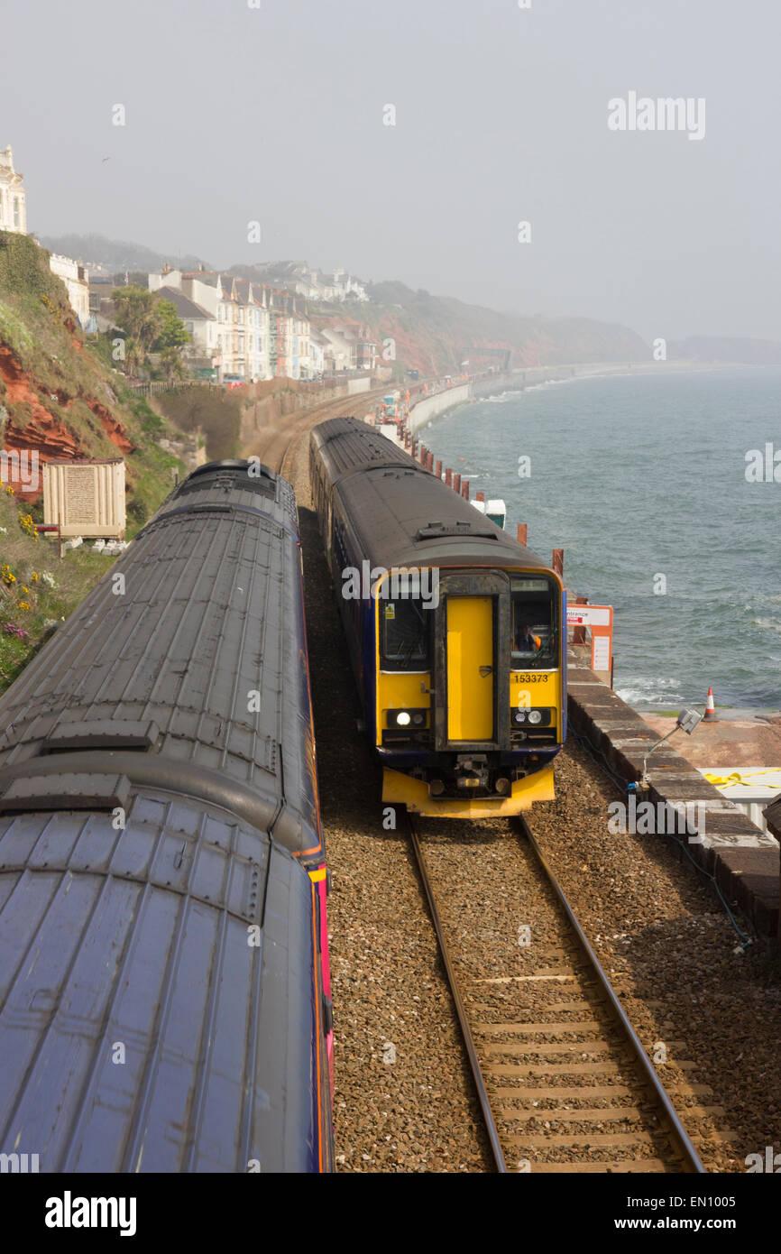 Dawlish, South Devon, railway engineering works on seafront - Stock Image