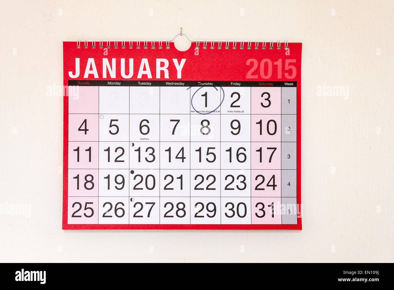 Monthly wall calendar January 2015, New Year's Day circled - Stock Image