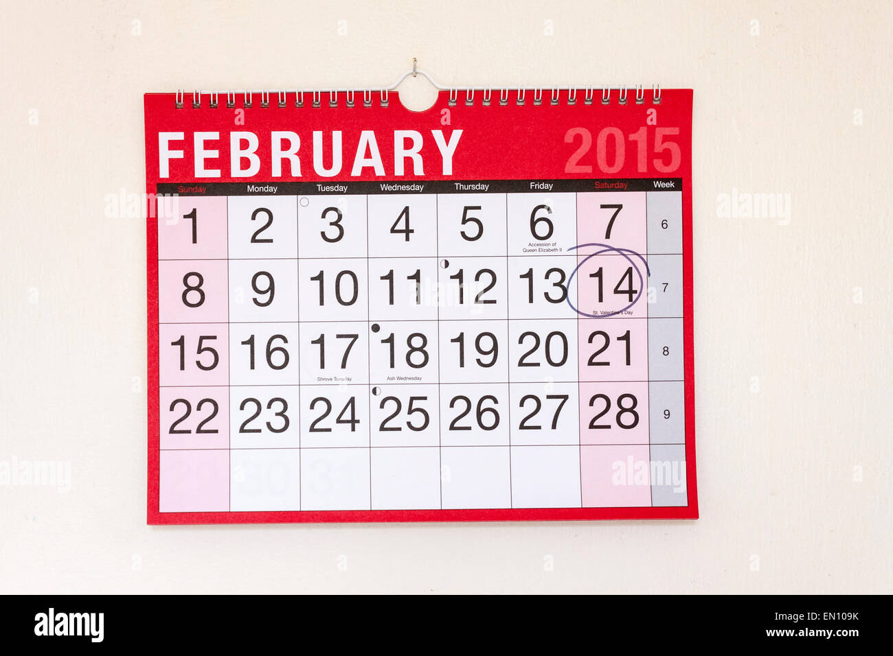Monthly wall calendar February 2015, St Valentine's Day circled - Stock Image