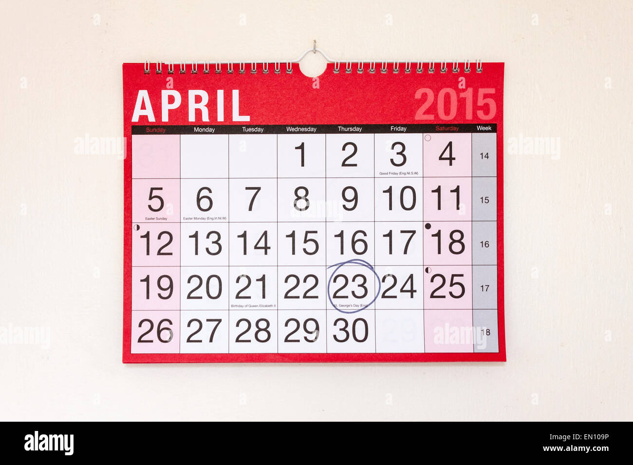 Monthly wall calendar April 2015, St George's Day circled - Stock Image