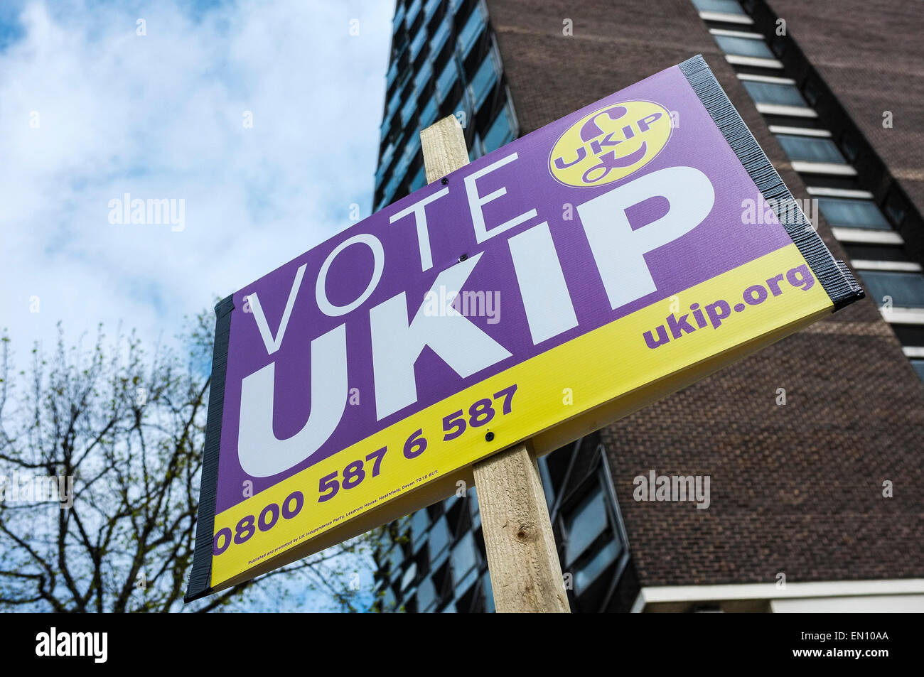 Basildon, UK. 25th Apr, 2015. Saturday 25th April, 2015.  Basildon.  Members of UKIP in Basildon Town - Stock Image