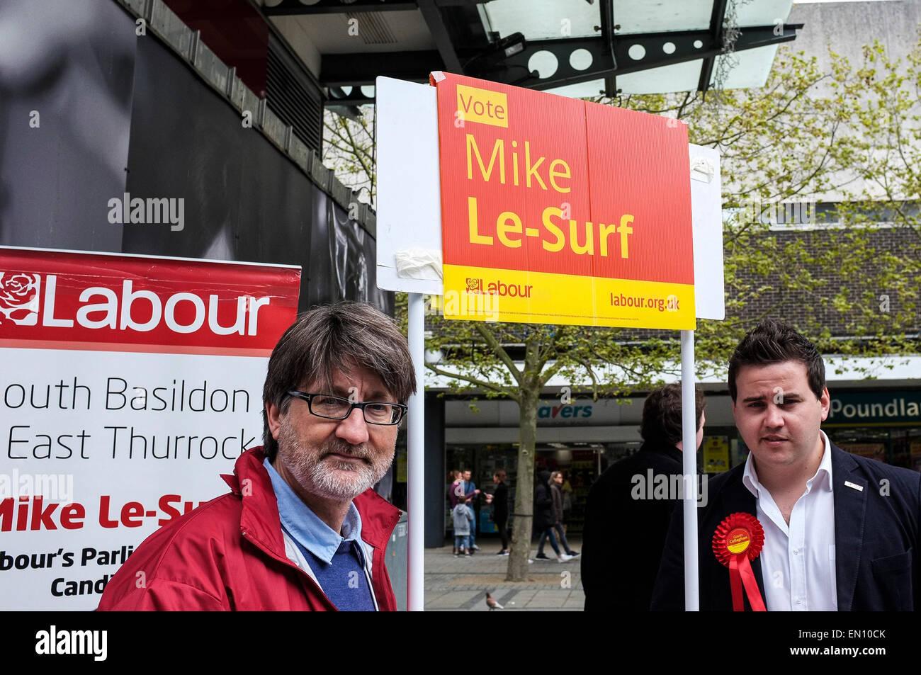 Basildon, UK. 25th Apr, 2015. Saturday 25th April, 2015. Basildon. Mike Le-Surf, prospective candidate - Stock Image