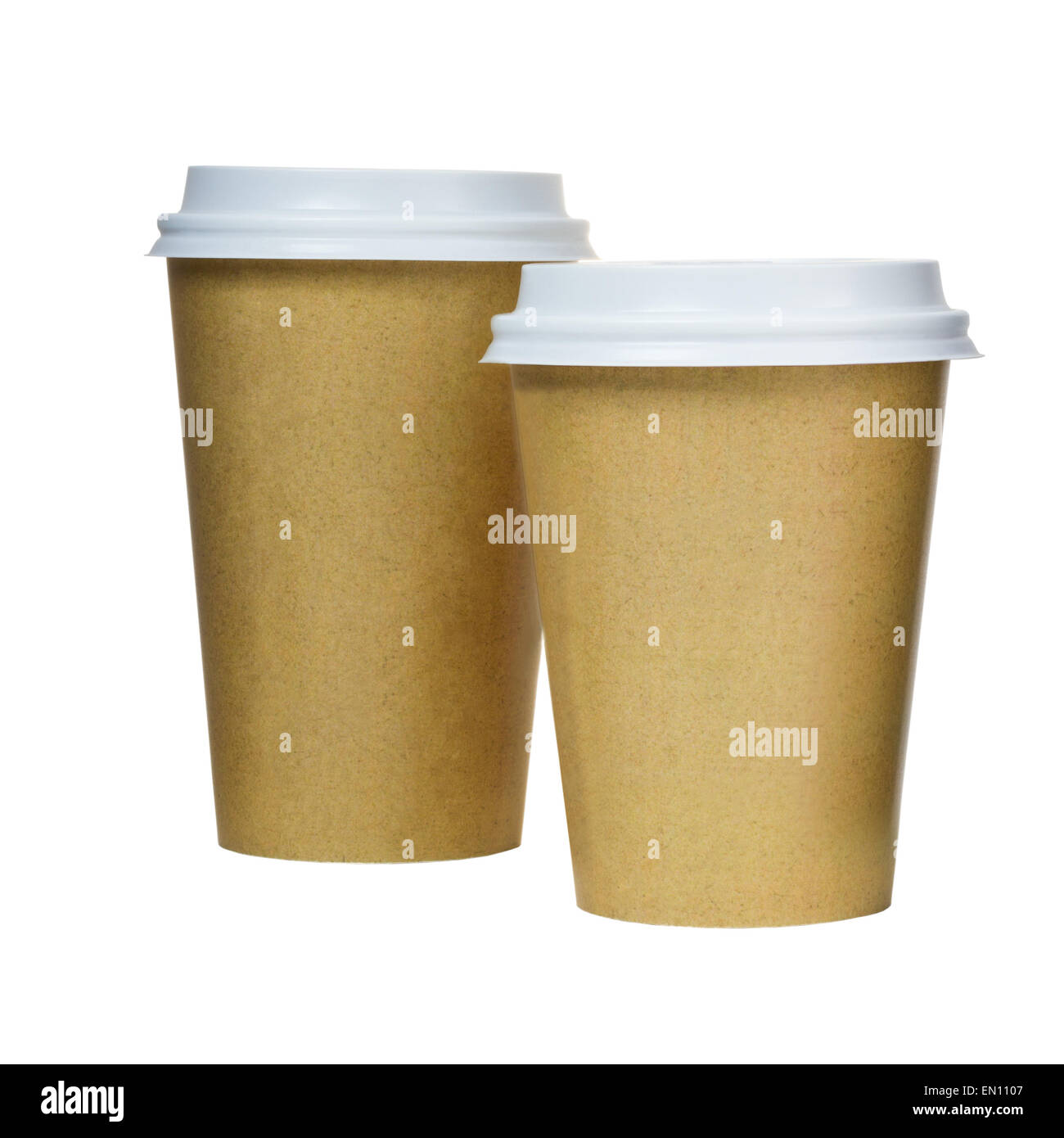 Takeaway coffee cups isolated on white background. Coffee packag - Stock Image