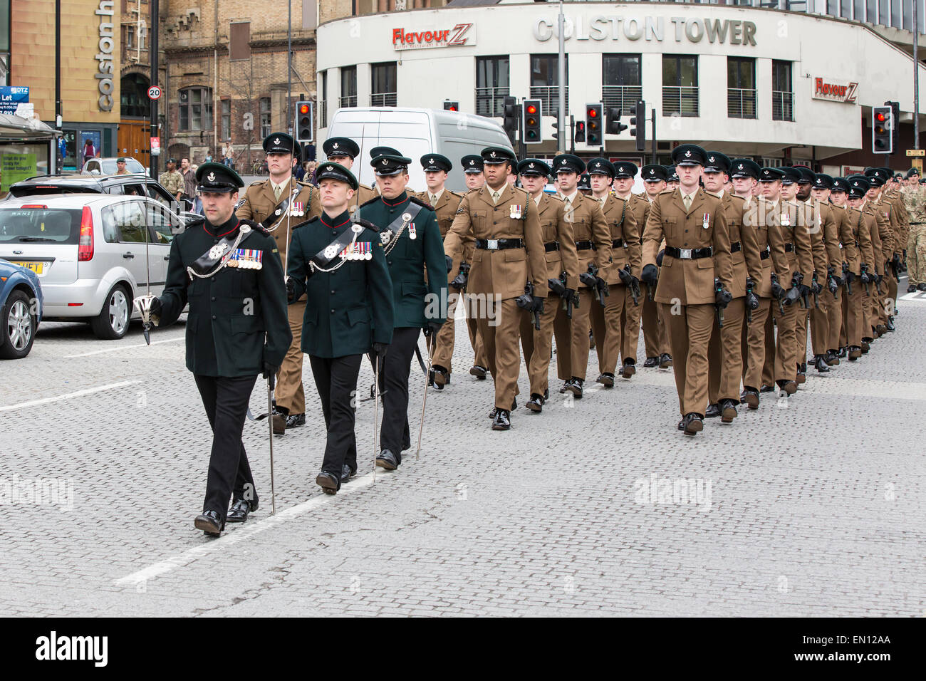 Soldiers from British Army Regiment The Rifles march through