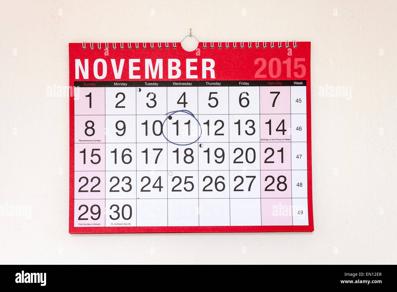 Monthly wall calendar November 2015, Remembrance Day circled - Stock Image