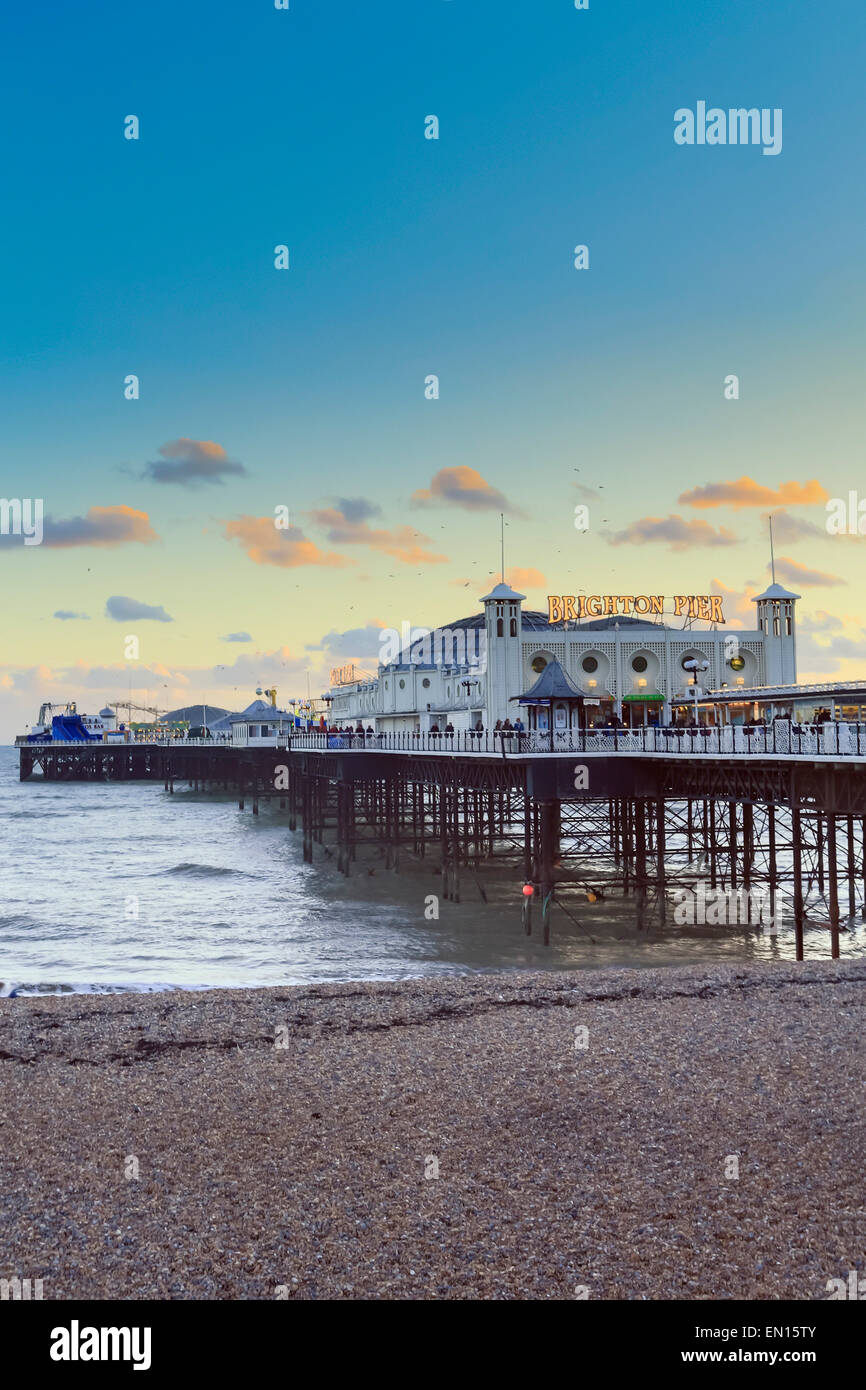 Europe, United Kingdom, England, East Sussex, Brighton, Brighton pier and beach, Palace pier, built in 1899, shoreline - Stock Image