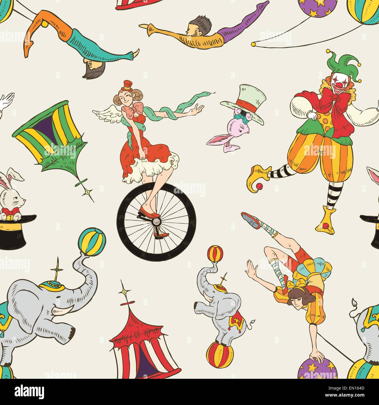 lovely circus collection seamless background isolated over grey Stock Vector