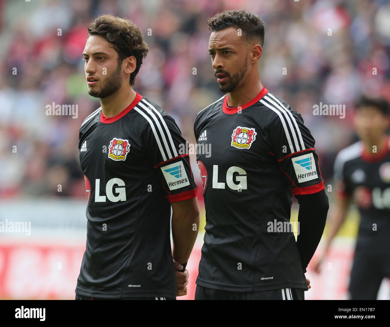 Cologne, Germany, 25Apr 2015. Bundesliga, 1. FC Koeln vs Bayer Leverkusen. Karim Bellarabi (Leverkusen, R) beside - Stock Image