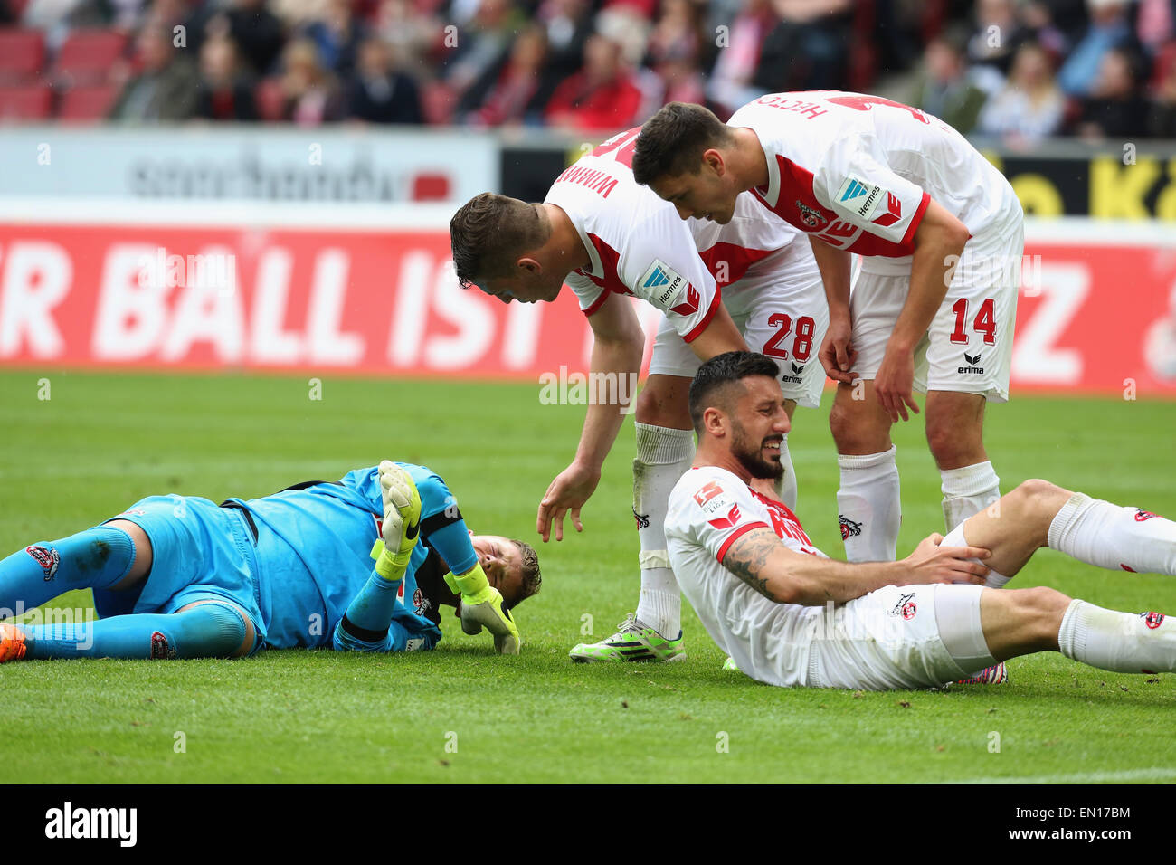 Cologne, Germany, 25Apr 2015. Bundesliga, 1. FC Koeln vs Bayer Leverkusen. Kevin Wimmer (L) and Jonas Hector (#14) - Stock Image