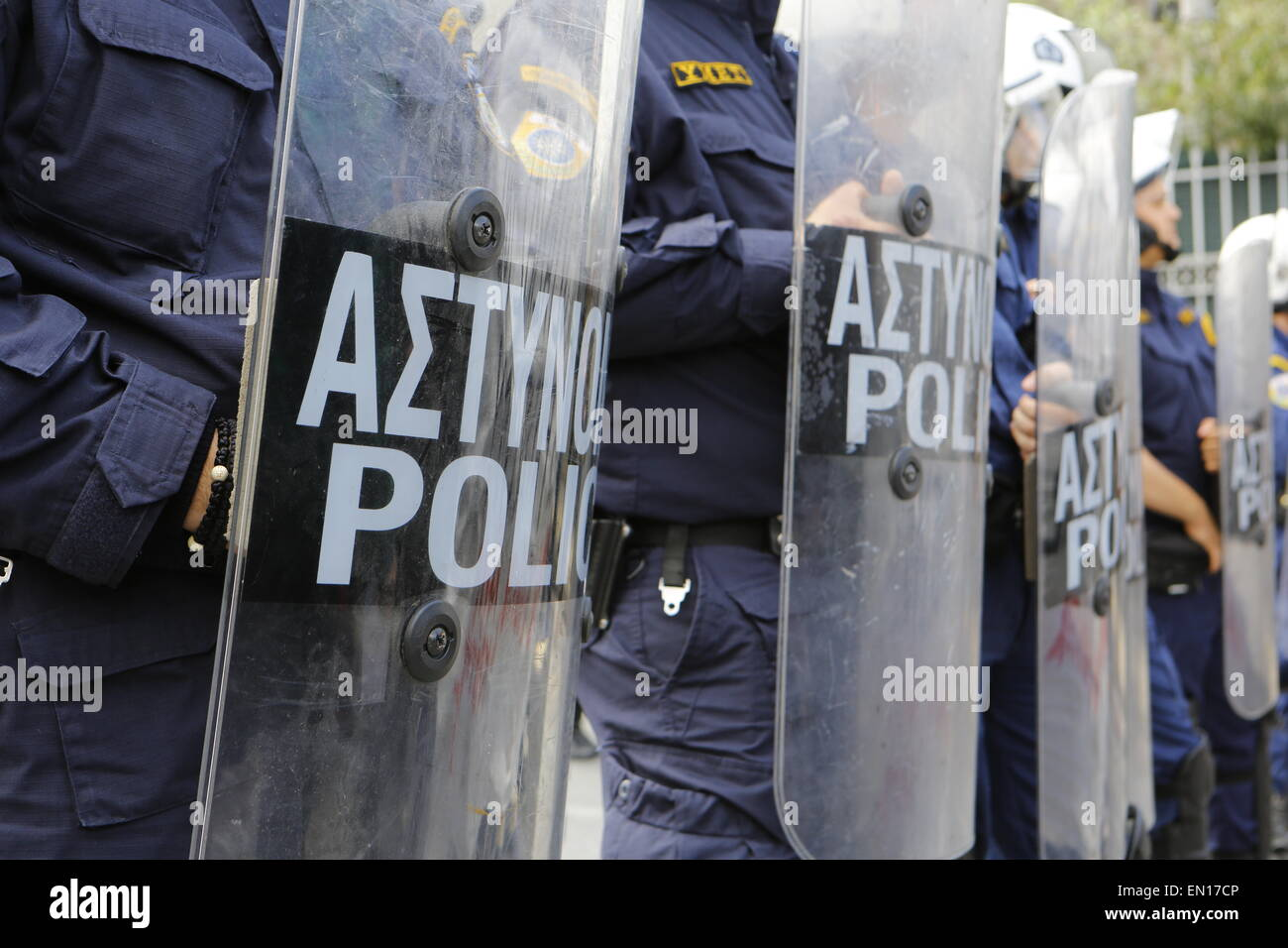Athens, Greece. 25th Apr, 2015. Close-up of Riot Police officers outside the Ministry of Public Order. Pro-immigration - Stock Image
