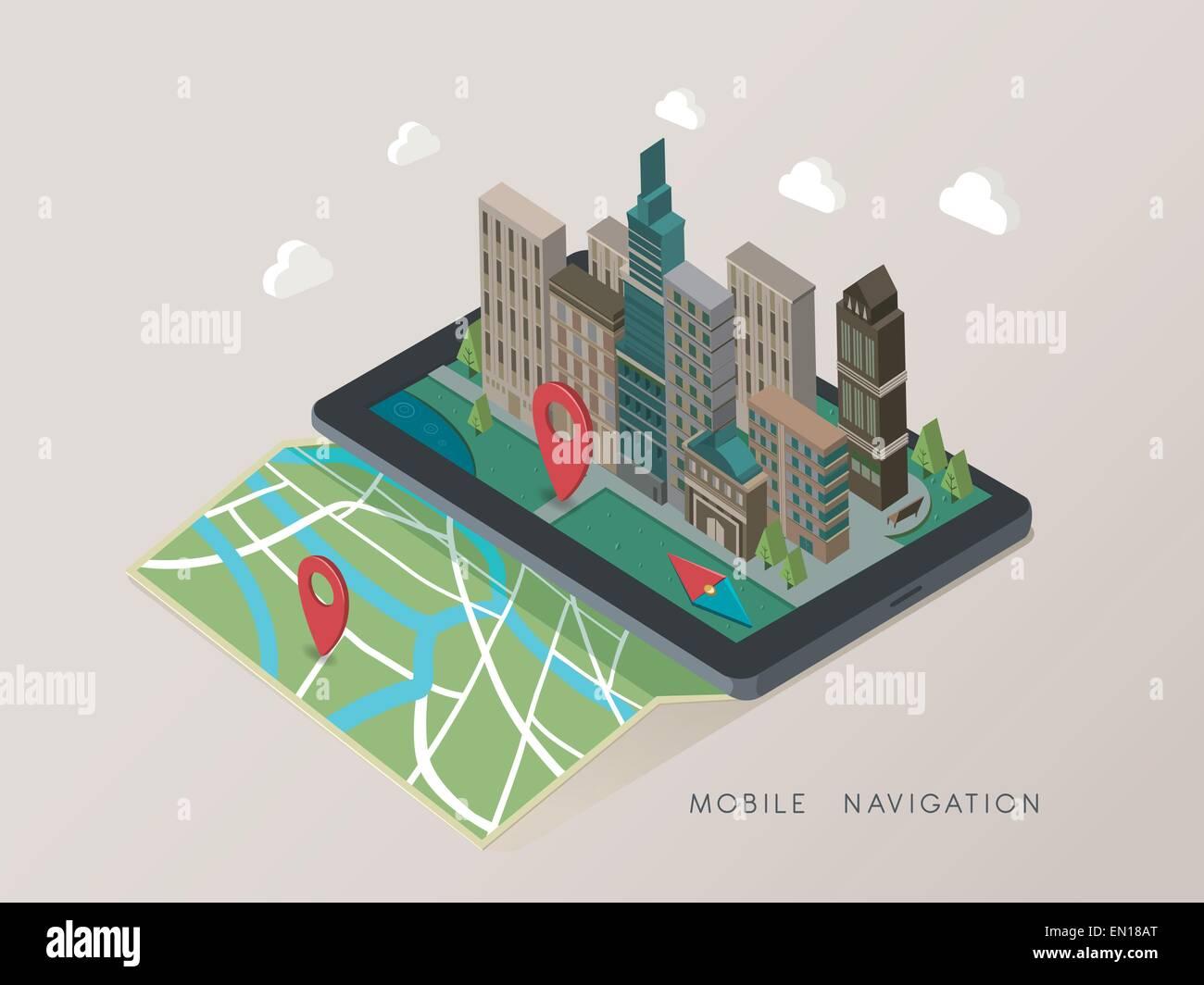 flat 3d isometric mobile navigation illustration over grey background - Stock Vector