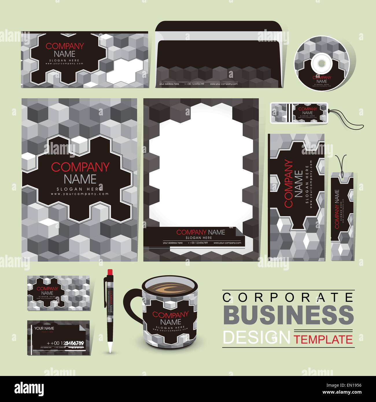 vector business corporate identity template with grayscale blocks ...