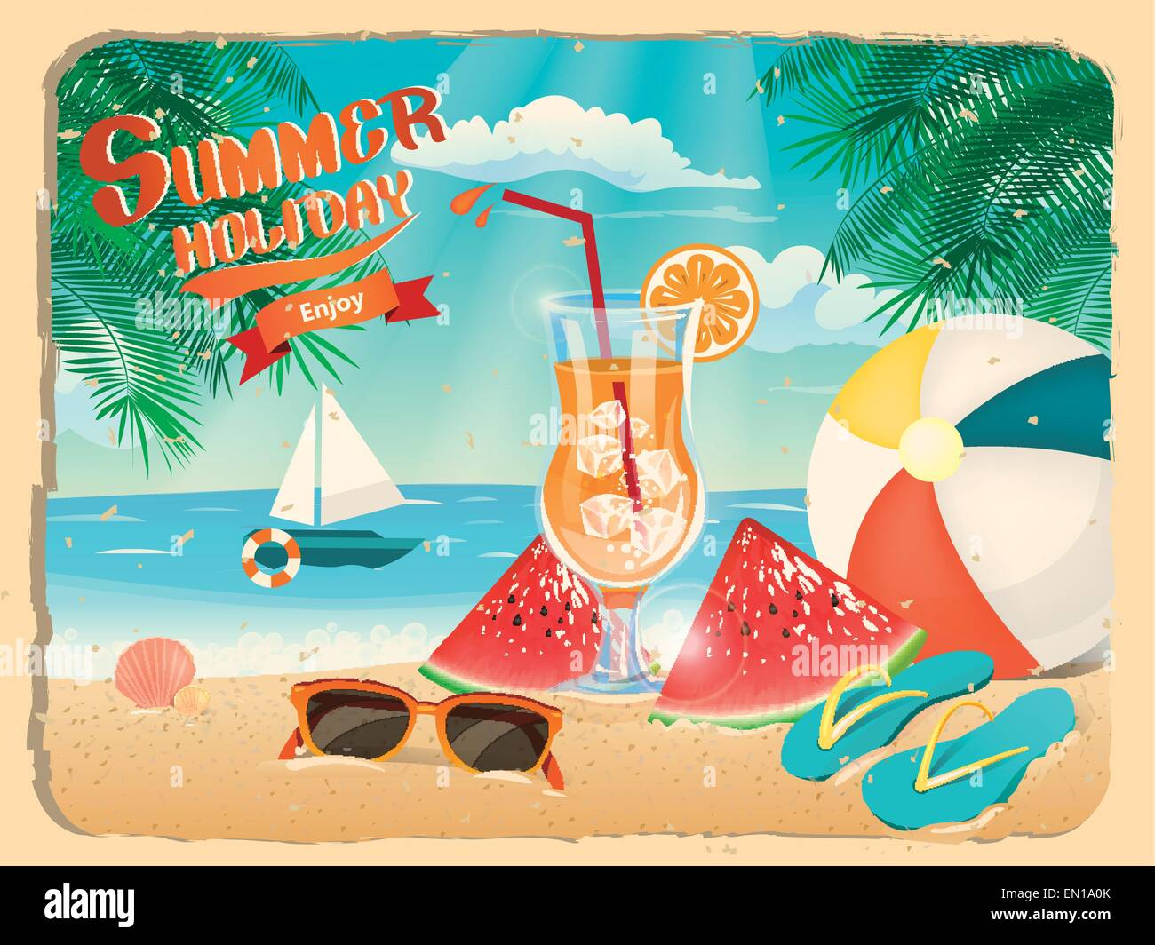 Summer Holiday Poster Of Beach Site Template