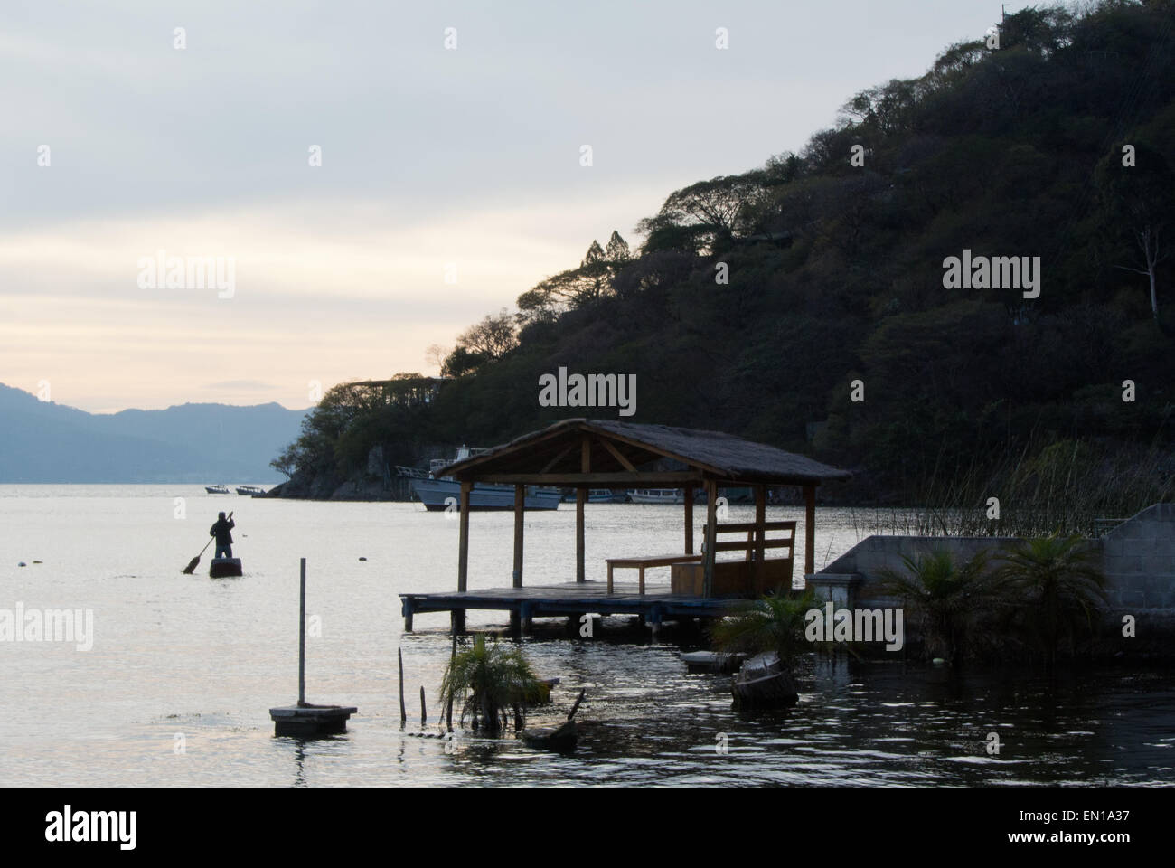Sunset over the Lago de Atitlan, Guatemala - Stock Image