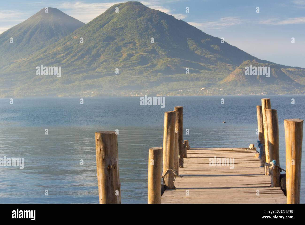 Sunrise on lake Atitlan, volcanoes Toliman and Atitlan - Stock Image