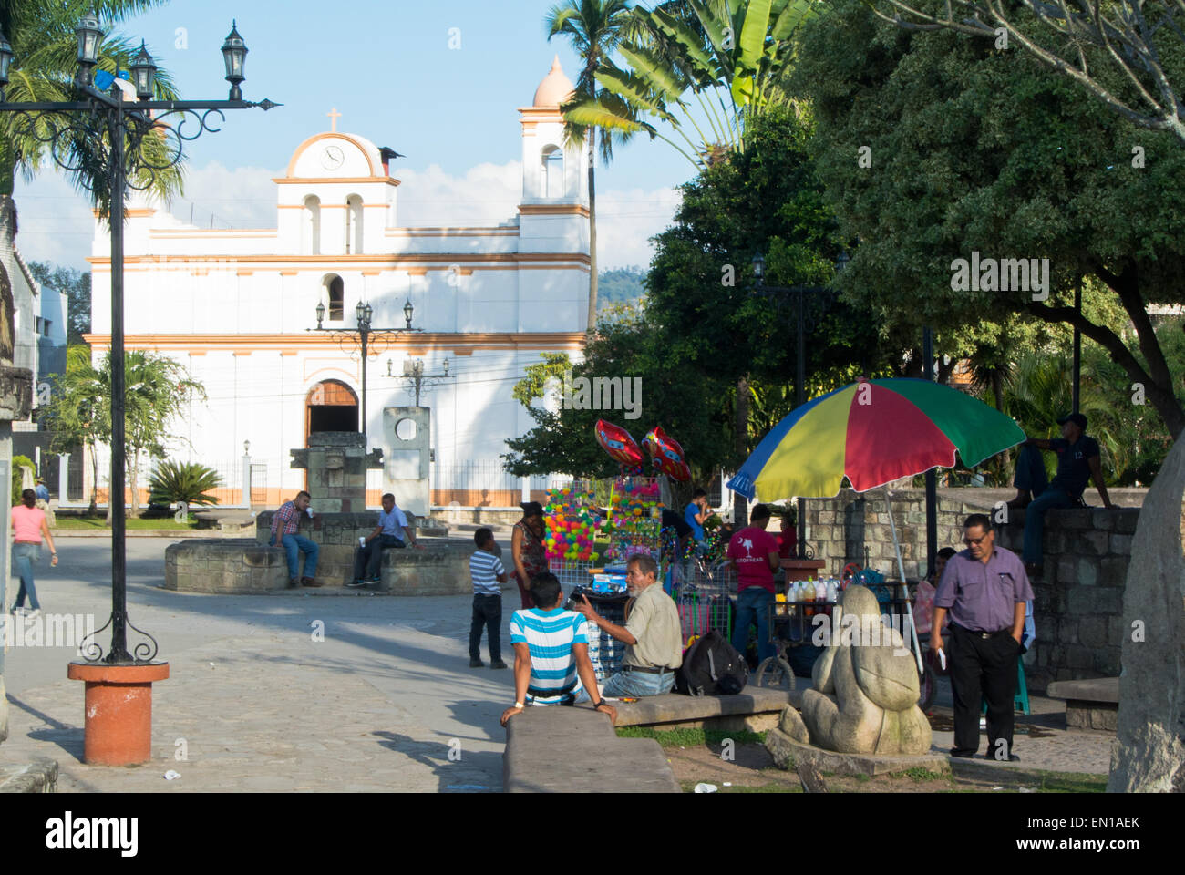 Central square in the town of Copan Ruinas, Honduras - Stock Image