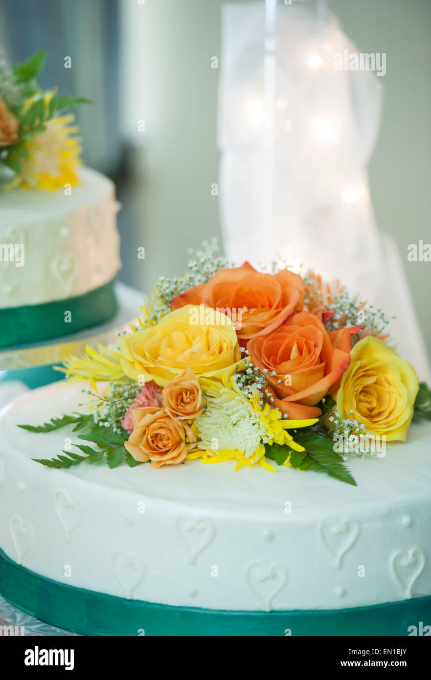 Wedding Decorations Blue With Orange And Yellow Flowers