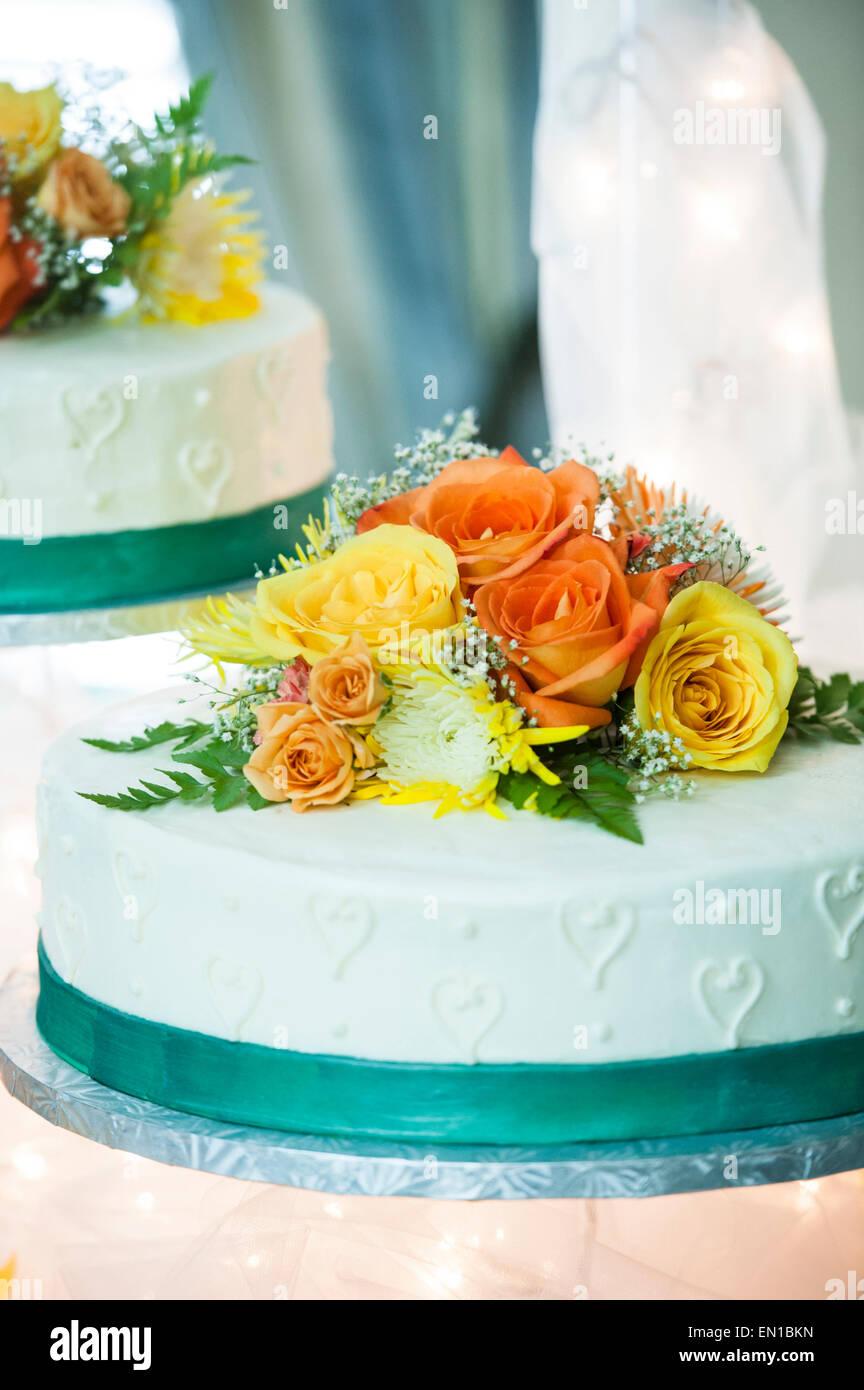Orange wedding cake stock photos orange wedding cake - Yellow and orange wedding decorations ...