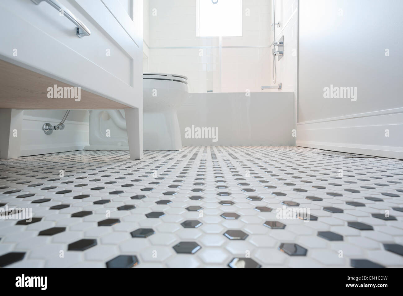 Low angle detail shot of tiled bathroom floor Stock Photo: 81780997 ...