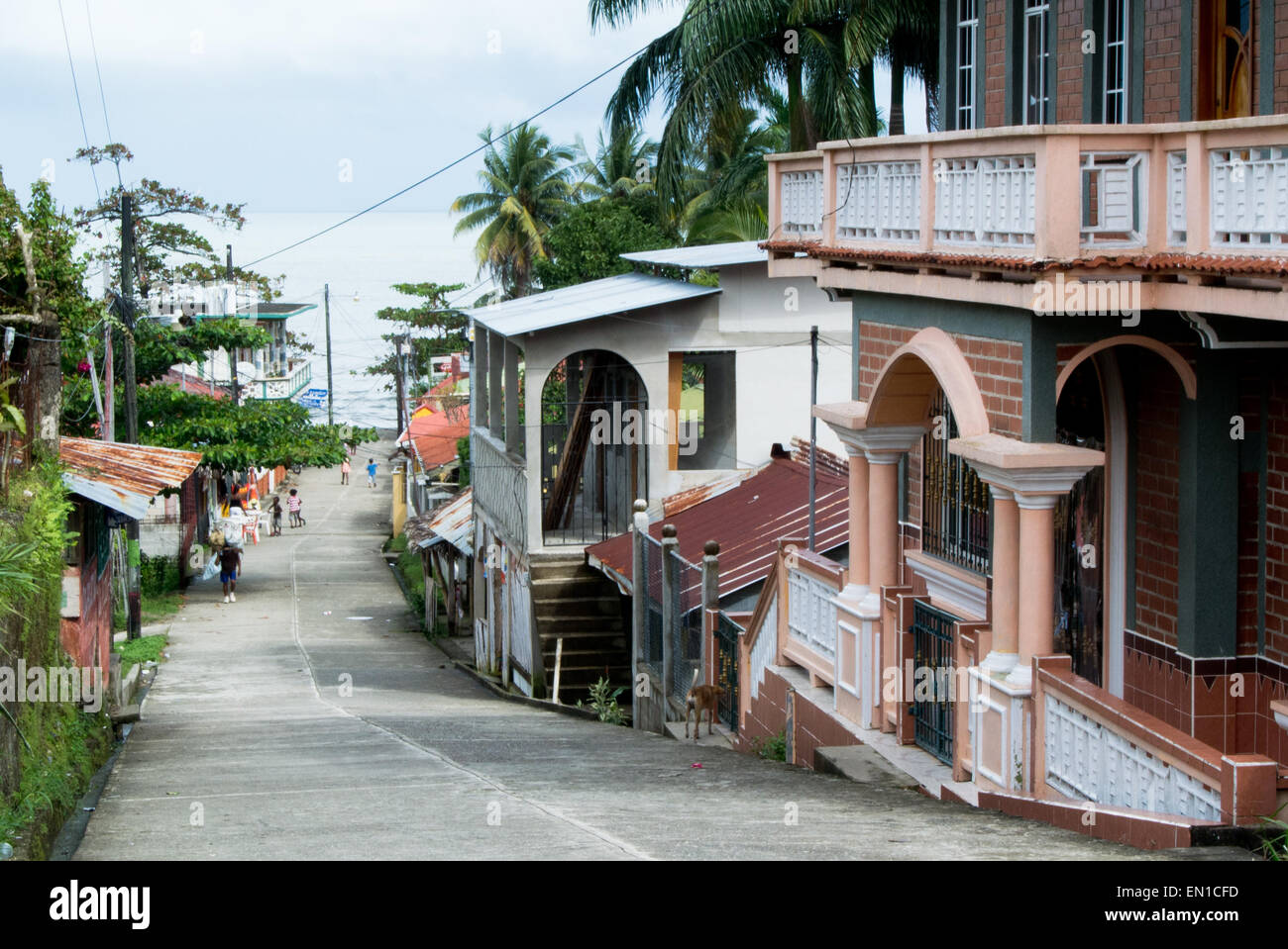 Street scene in Livingston, Guatemala, looking down to the Rio Dulce - Stock Image