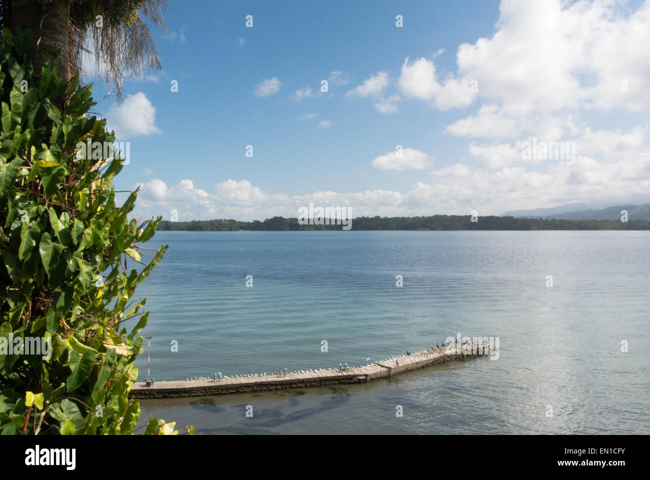 Pier at the Hotel Villa Caribe, Livingston, Guatemala Stock Photo