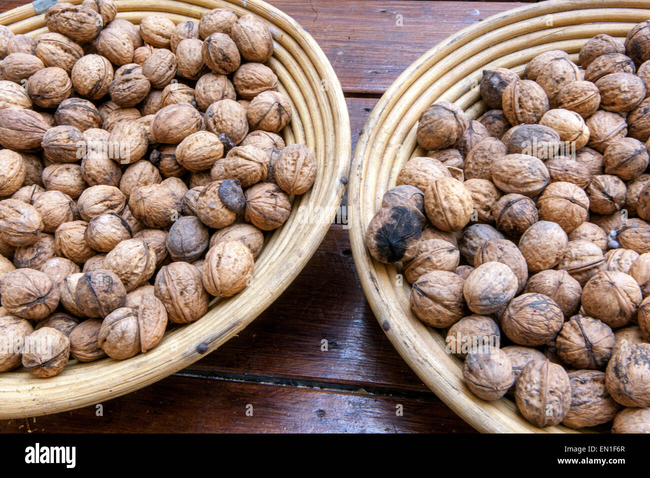 walnuts in basket - Stock Image