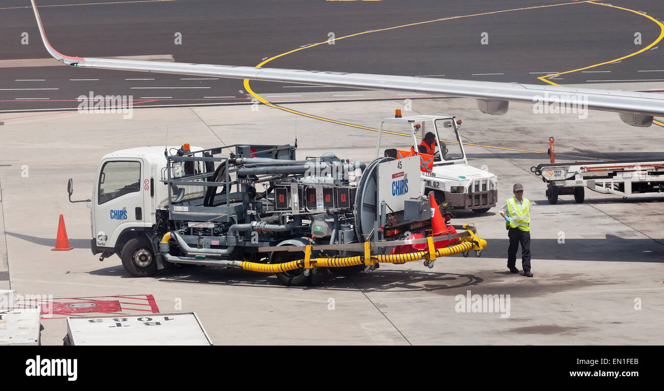 Passenger jet airplane fuel supply truck, airport service, refueling Stock Photo