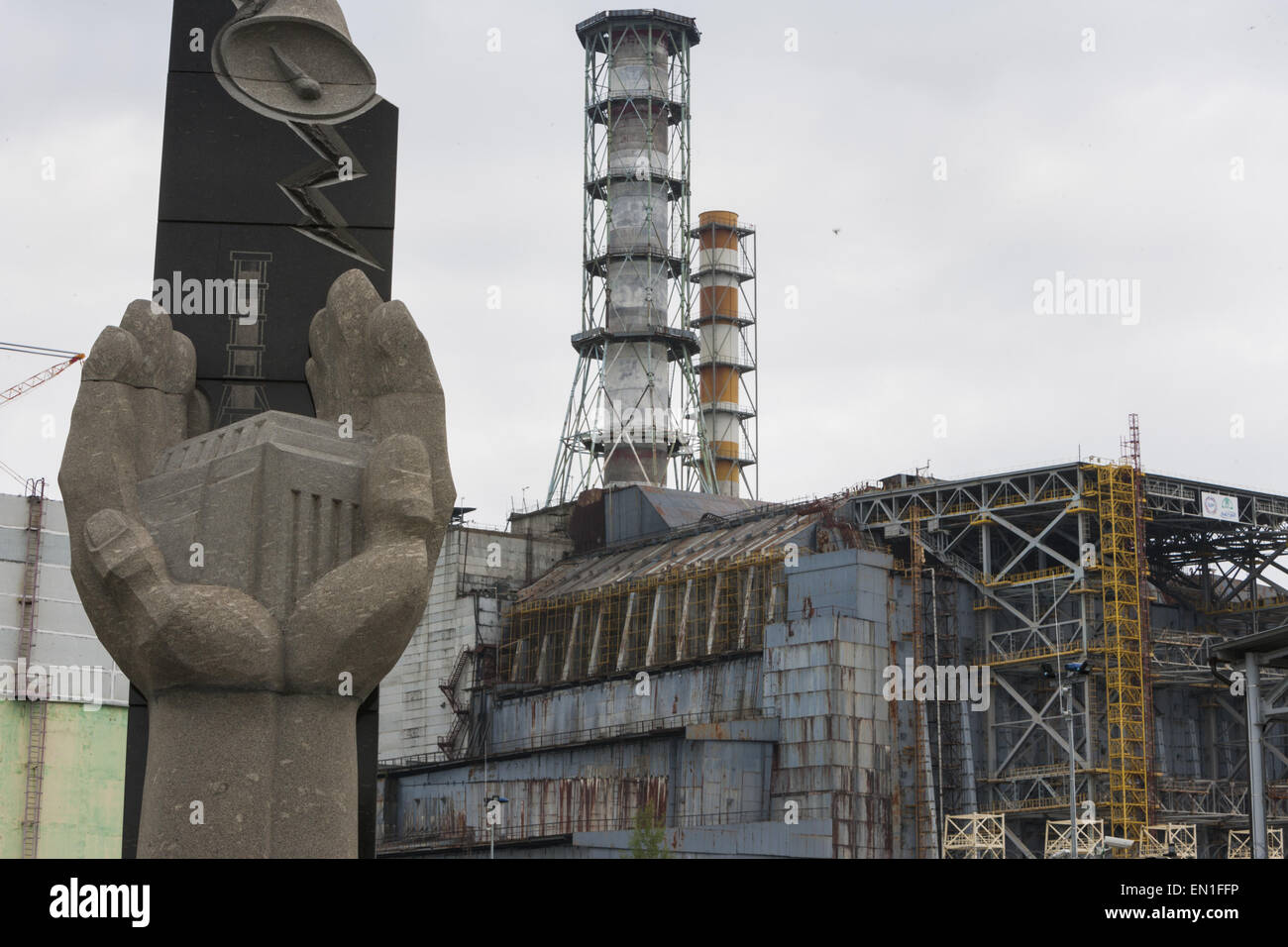 Ukraine. 12th June, 2013. Memorial sculpture close to nuclear reactor number 4 remember the dead workers in Chernobyl - Stock Image