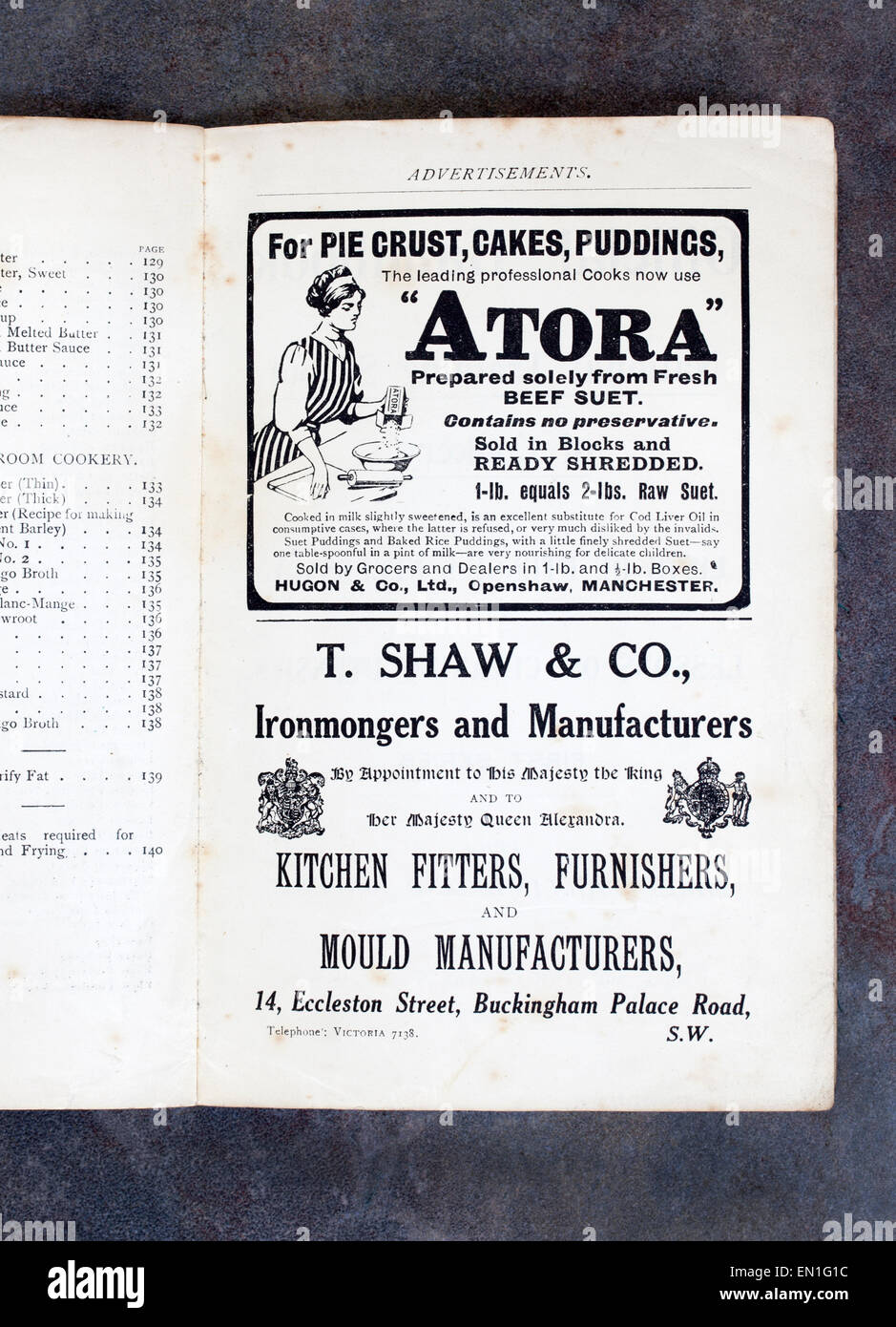 Adverts for Atora Suet and Ironmongers Kitchen Fitters - Stock Image