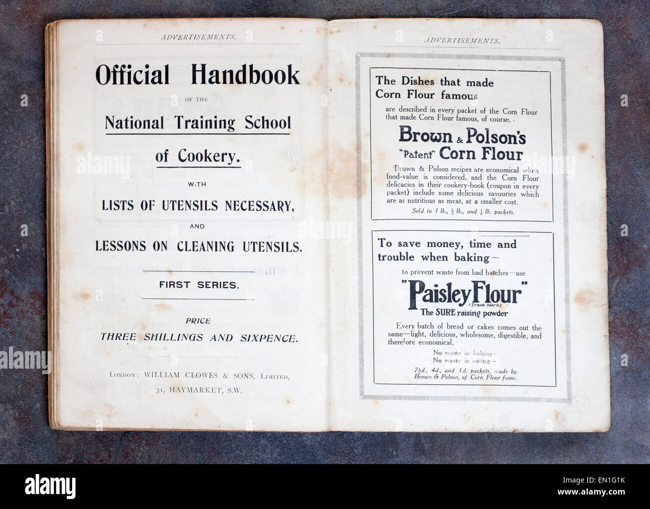 Adverts from Plain Cookery Recipes Book by Mrs Charles Clarke for the National Training School for Cookery - Stock Image