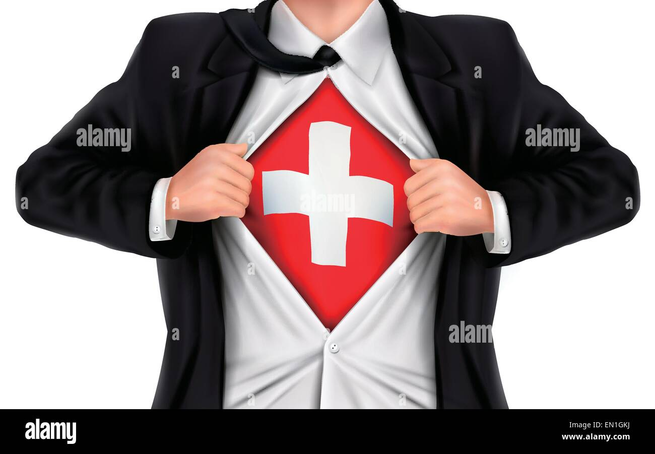 businessman showing Switzerland flag underneath his shirt over white background - Stock Vector